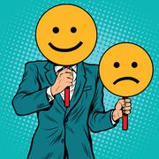 Smiley facial expressions happy and sad Stock Illustration