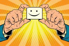 joy Smiley face in hands - stock illustration