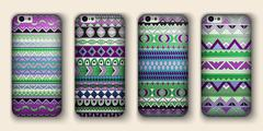 A set of four covers for your mobile phone. Vector decorative ethnic backgrou - stock illustration