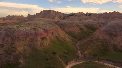 Clouds Glide Above Mountainous Landscape In Badlands National Park Time Lapse Stock Footage