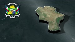Bangui with Coat Of Arms Animation Map Stock Footage