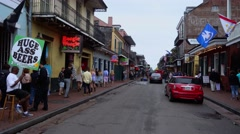 Walking through Bourbon Street French Quarter New Orleans - stock footage