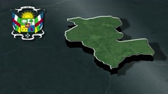 Kemo with Coat Of Arms Animation Map Stock Footage