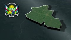 Nana-Mambere with Coat Of Arms Animation Map Stock Footage