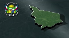 Nana-Grebizi with Coat Of Arms Animation Map Stock Footage