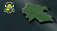Ouaka with Coat Of Arms Animation Map Stock Footage
