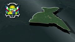 Sangha-Mbaere with Coat Of Arms Animation Map Stock Footage