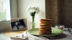 Breakfast for whole family.morning time.breakfast food.pancake day. - stock footage