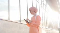 Muslim woman use tablet Stock Footage