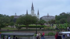 Driving by Jackson Square at New Orleans French Quarter Stock Footage