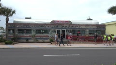Typical American Diner in Daytona Beach Stock Footage