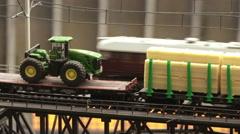 Travel locomotive on railway bridge Stock Footage