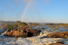 Sunrise at the Ruacana waterfall, Namibia Stock Photos