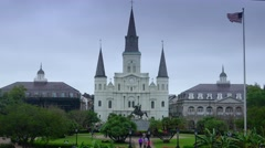 St. Louis Cathedral at Jackson Square in New Orleans Stock Footage