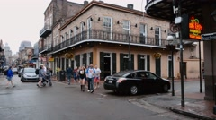 Famous Bourbon Street French Quarter New Orleans on a rainy day - stock footage