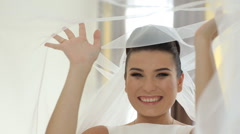Happy bride smile near her dress Stock Footage
