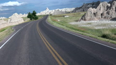 Driving POV Badlands National Park Rear View Stock Footage
