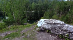 Sleeping Angel Sculpture. Marble Canyon. Ruskeala, Karelia. 4K. Stock Footage