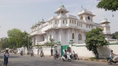Monumental building and street traffic,Hyderabad,India Stock Footage