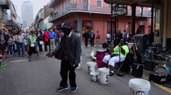 People listening to street musicians at French Quarter New Orleans - stock footage