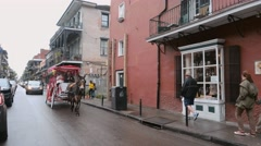 Horse drawn cab in French Quarter New Orleans Stock Footage