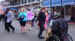 People dancing on the street of New Orleans French Quarter - stock footage