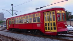 New Orleans street car trolley Stock Footage