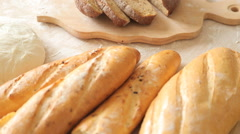 Focus on bread in a farm. Stock Footage