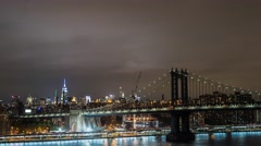 Time laps Brooklin bridge in nigt at city view Stock Footage