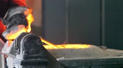 Molten metal in the electric arc method ladle before pouring Stock Footage
