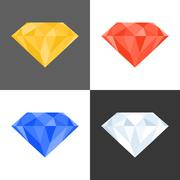 3d diamond icon,multiple colours, flat design Stock Illustration