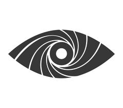 Shutter and eye icon. Camera design. Vector graphic - stock illustration