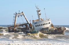 Shipwreck along the Skeleton Coast Stock Photos