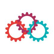 Gears  icon. Machine part design. Vector graphic - stock illustration