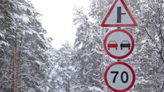 Prohibitory Road Signs on Winter Road Stock Footage