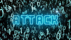 Bluish Attack concept with digital code Stock Footage