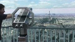 Tourist At Montparnasse Tower Panoramic Observation Deck In Paris, 4k Stock Footage