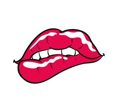 Female mouth icon. Pop art design. Vector graphic Stock Illustration