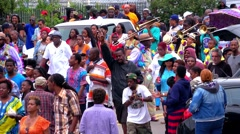 New Orleans street parade as on Mardi Gras Stock Footage