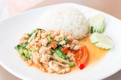 Rice topped with stir-fried pork and basil - stock photo