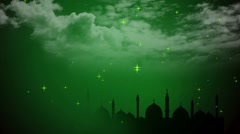 Wedding Motion Loopable Background 069, Green BG with mosque and clouds Stock Footage