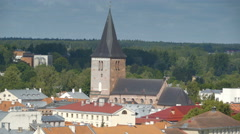 Shot of the roofs of the buildings in Tartu Stock Footage