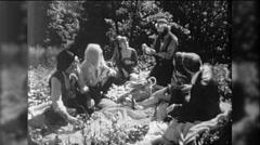 Hippies People Love In Smoke Marijuana Picnic 1960s Vintage Film Home Movie 9757 Stock Footage