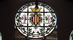 Round window at the Central Market in Valencia  spain Stock Footage