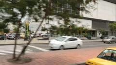 Pan of busy Latin American street (HD) Stock Footage