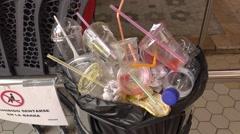 Garbage basket on cetral mercado market in valencia  spain Stock Footage