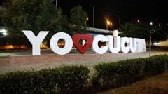 """Pan of """"yo amo Cúcuta"""" sign at the night (HD) Stock Footage"""
