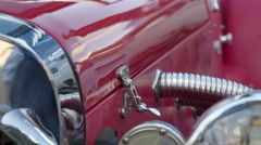 The red shiny old russian car on display Stock Footage