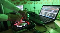 DJ Console at a party with a laptop. Not stabilized video Stock Footage