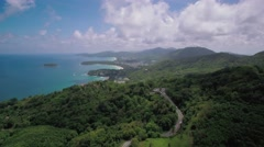 View Over Southern Phuket Beaches and Hills Aerial Drone Pullback Shot Arkistovideo